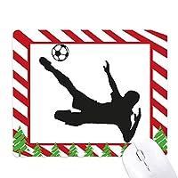 サッカーのシルエットのスポーツ ゴムクリスマスキャンディマウスパッド