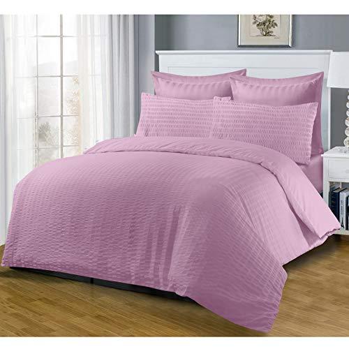 Nimsay Home Harmony SEERSUCKER - Set copripiumino alto con ruches in cotone T144 fili, tinta unita, tinta unita, tinta unita, tinta unita, 2 in 1, colore: rosa