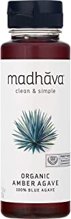 MADHAVA Organic Amber Agave, 11.75 oz. Bottle (Pack of 6) | 100% Pure Organic Blue Agave Nectar | Natural Sweetener, Sugar Alternative | Vegan | Organic | Non GMO | Liquid Sweetener