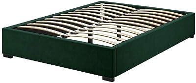 Ensemble Velvet Fabric Bed Base Bed Frame Support Slat Queen Green