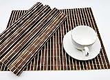TN Craft Lot de 6 Sets de Table en Bambou Naturelle, Sets de Table Rectangulaires, Sets de Table résistants à la Chaleur, Lavable, Tapis de Table Antidérapant (Marron Clair Foncé.)