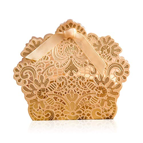PONATIA 50 PCS Laser Cut with Ribbon Wedding Party Favor, Wedding Gift Bags Chocolate Candy and Gift Boxes (Champagne Gold)