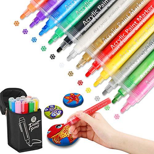 Aerb Acrylstifte, Metallic Marker Stifte Set acrylstifte für Steine,Keramik,Glas, Leinwand, Tassen, Holz und Ostereiern(12 Farben)