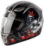 Nitro Tattoo Full Face Helmet (Black/Red, Medium)