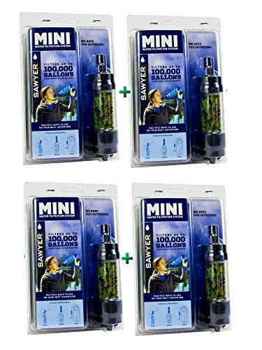 Sawyer Mini - Filtre d'eau pour randonnée, accessoire camping, trekking, MINI set de 4, purificateur d'eau de robinet (MINI set de 4 Camouflage)
