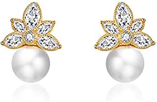 Italina Stud Earrings Cubic Zirconia Jewelry Earrings for Women Girls Fashion White CZ Stones Rhodium/Gold/Rosegold Plating