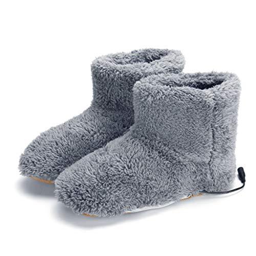 Harpily Stivaletti Da Neve Uomini Donne Stivaletti Scaldapiedi Stivali Di Plush Inverno Lavabile Scarpe Di Avvio Caricatore USB (Grigio)