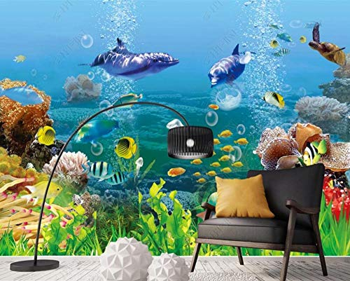Wallpaper 3D Wall Murals Tropical Fish Dolphin Underwater World Wallpaper Wall Mural Living Room Bedroom Tv Background Wall Mural Decoration Art 150cmx105cm
