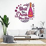 Pegatinas de pared removibles, para trabajar menos beber, más vino, decoración del hogar para dormitorio, aula, sala de estar, oficina