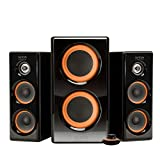 Arion Legacy AC Powered 2.1 Speaker System with Dual Subwoofers and Wired Control Pod for Multiple Devices 100W Piano Black (AR506)