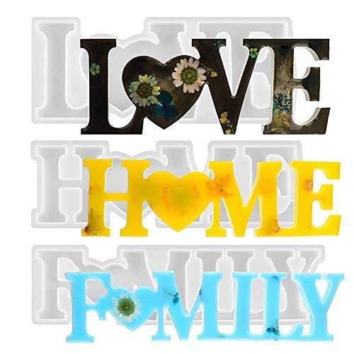 CYH 3 Piezas Molde de Resina Epoxi Love/Home/Family - Juego de Moldes Silicona Resina Epoxi 3D Manualidades - para Decoraciones de Mesa, Bodas, San Valentín, DIY Manualidad