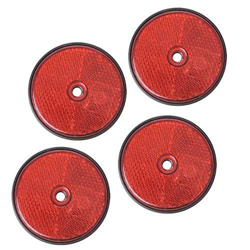 4 Stück Rückstrahler rot rund Anhänger Katzenauge Reflektor LKW Wohnwagen PKW