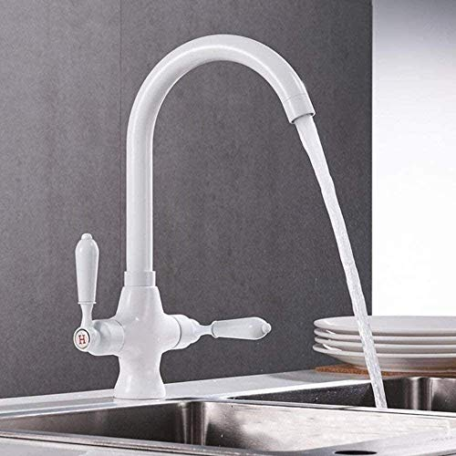 DERUKK-TY La manija Doble Gira 360 °.Compatible con Grifo Mezclador de Lavabo de Cocina de Doble Fregadero de latón Blanco, Grifo de Lavabo, grifos de Agua fría y Caliente, Resistente y no Oxidado
