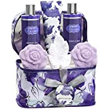 Bath and Body Gift Set For Women – Lavender and Jasmine Home Spa Set With Double Sized Bath Bombs, Reusable Travel Cosmetics Bag and More