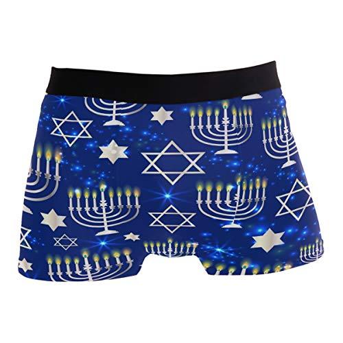 Men's Boxer Brief Underwear - Happy Hanukkah Blue Boxers for Men No Ride Up