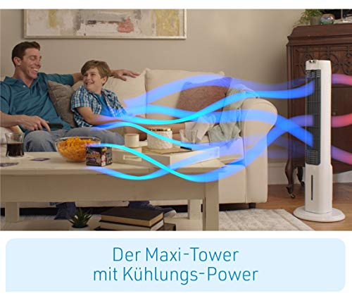 LIVINGTON ChillTower – Klimagerät mit Wasserkühlung – mobiles Klimagerät mit 3 Kühlstufen – Verdunstungs-Kühler ohne Abluftschlauch für 12h Kühlung Dank 1,5 L Tank - 8