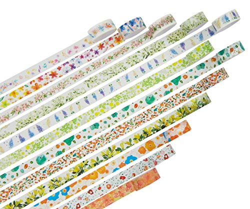 Azue マスキングテープ 2m巻 9-12巻セット 和紙テープ ラッピング 剥がしやすい ギフト クリスマス かわいい花
