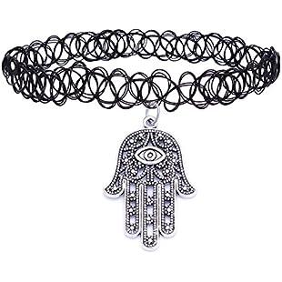 4youquality® Retro Hippy Tibetan Silver Charm Tattoo Choker Necklace Pendant Henna Boho For Women Lady Girl (#9 Evil Eye,Hamsa Hand):Hotviral