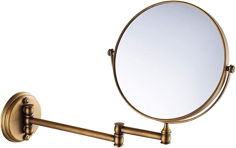 RMXMY Vintage Wall Hanging Folding Retractable redating Punch-Free Hotel Bathroom Beauty Mirror Makeup Mirror