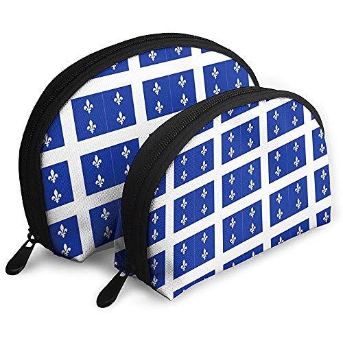 Quebec Flag Fleur-de-lis Blue Shellfish Cosmetic Bag Bolsas de Almacenamiento portátiles con Forma de Concha Bolsa de Aseo de Viaje (Incluye 2 Bolsas)