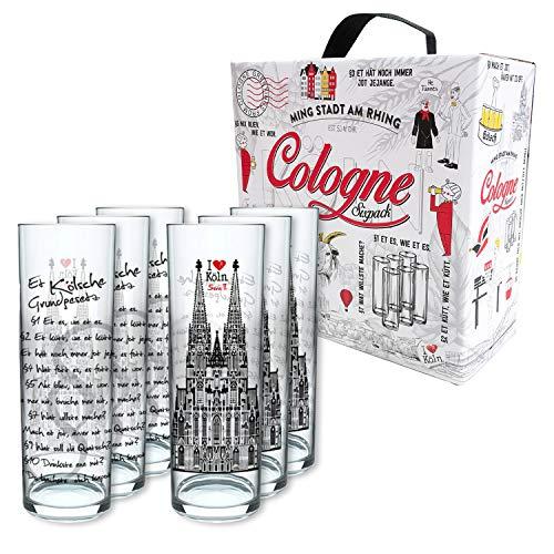 3forCologne Kölschglas Grundgesetz 6er Pack, Gläser mit dem Kölner Grundgesetz, Biergläser mit Druck à 0,2ml