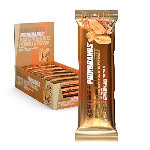 Probrands - Proteine BAR BIGBITE Peanut & Toffee- Alto Proteine 37%, Senza Zucchero Aggiunto, 45G x 24 PZ