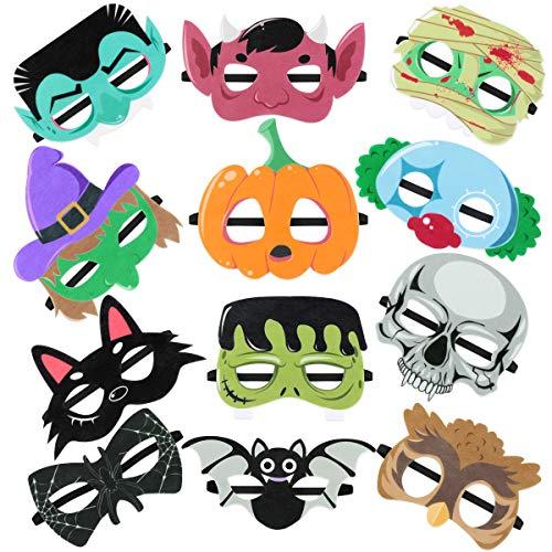 Toyvian 12 Stück Kinder Masken Halloween Party Masken Mitgebsel - Clownsmaske, Hexenmaske, Kürbismaske, Katzenmaske, Spinnenmaske, Fledermausmaske, Schädelmaske