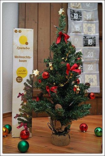 Weihnachtsbaum komplett geschmückt 75 cm - Batterie betrieben - Christbaum mit 20 LED Lichterkette, Schleifen, Kugeln und Sternen