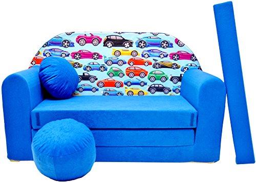 168/x 98/x 60/cm pink Stoff PRO COSMO H35/Kinder Sofa Bett mit Puff//Fu/ßbank//Kissen