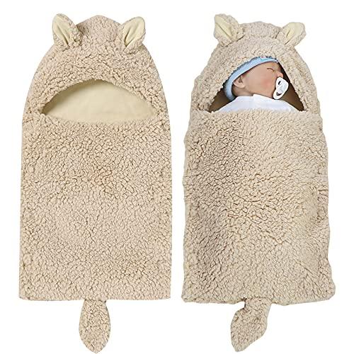 Saco de dormir con capucha para cochecito de bebé recién nacido, invierno, suave, cálido, 0-12 m, para niñas y niños (color caqui)