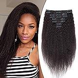 Elailite Extensiones Afro Pelo Natural Clip Cabello Humano Cortina Kinky Gruesas 8 Piezas 18 Clips 100% Remy Ondulada 35CM 110g #1B Negro Natural