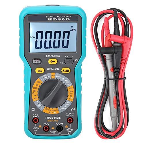Digital Multimeter, Fydun HD80D 6000 Zählt Hand Multimeter ACV/DCV Stromtester Meter LCD-Hintergrundbeleuchtung Test Spannung Strom Widerstand Frequenz