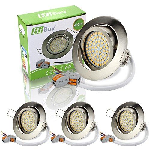 HiBay® Ultra Flach LED Einbaustrahler - Tolles Design - Naturalweiss - 3,5W Leuchtmittel 230V Edelstahl gebürstet Optik Schwenkbar - Einbauspots - LED Deckenstrahler - 4 Stück Einbauleuchten