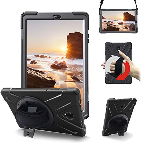 Junfire Hülle kompatibel für Samsung Galaxy Tab A 10.5, T590, T595 case mit 360 Grad drehbar mit Ständer, Handgurt & Schultergurt,Multiple Schicht-Hybrid-SchwerLast-Schock Hülle Schwarz