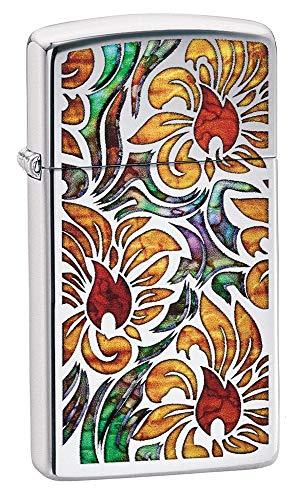 Zippo Fusion Floral Design, Accendino Antivento Unisex-Adulto, Finitura cromata Lucida, Standard