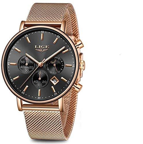 LIGE Damen Uhr Analog Quarz mit Edelstahl Armband 9894