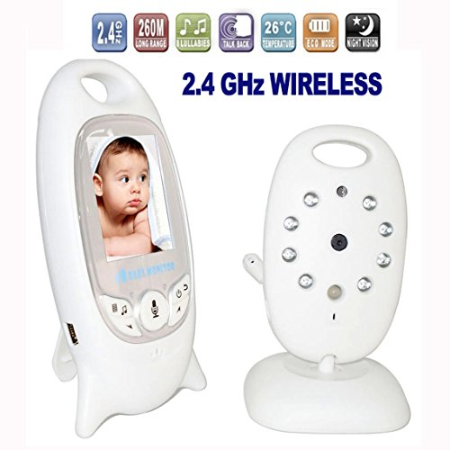 Adventurers Video Baby Monitor with Baby Camera for Two- Way Audio,Night Vision,Temperature Monitoring,Rechargeable Battery, HD Sound Listening System with 2'' LCD Screen (White)