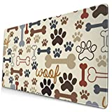 Dog Paw Prints Bones Extended Gaming Mouse Pad with Stitched Edges Large Mousepad with Premium Textured Cloth Non-Slip Rubber Base Keyboard Pad Desk Mat for Gamer Office Home