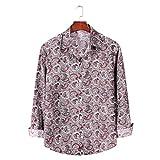 Camisa de Manga Larga con Estampado de Bloques de Color para Hombre, Tendencia de Moda, Informal, cómodas, Camisas básicas con Cuello Vuelto XXL