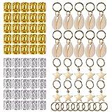 SoulBay 80 Pieces Hair Jewelry Dread Loc Accessories Incl 10pcs Sea Shell Beads, 50 Pcs Aluminum Dreadlocks Metal Cuffs and 20 Pcs Braid Decorations