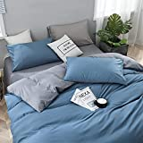 Duvet Covers Queen Size, Yougai 100% Washed Cotton Bed Sheets Set, Blue and Grey Reversible Design , Soft and Durable Bedding Duvet Covers, 3Pcs Duvet Cover Sets(90'×90')