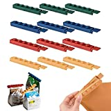 Building Block Food Sealing Clips, Food Storage Sealing Clip, Kitchen Fresh-Keeping Clip Snack Plastic Bag Clip Moisture-Proof Sealing Crocodile Clip (12Pcs)