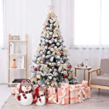 GJP TopBlïng 10FT Christmas Tree Set Artificial PVC Velvet Snow Dusted Christmas Tree Take Decoratives LED Light String Trees Flame Retardant For Hotel Shopping Malls Window