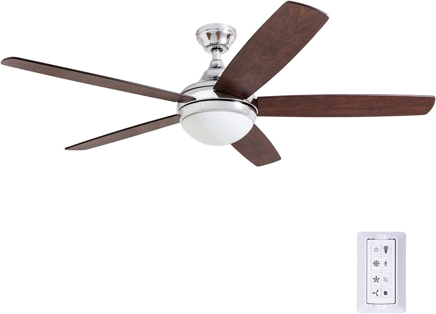 Prominence Home 80095-01 Ashby Ceiling Fan with Remote Control and Dimmable Integrated LED Light Frosted Fixture 52