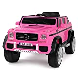 Fitnessclub 12V Kids Ride On Car Licensed Mercedes-Benz G65 Electric Cars Motorized Vehicles w/2.4 GHZ Bluetooth, Parent Control, LED Lights, MP3 Player, PU Leather seat (Pink)