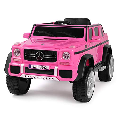 Fitnessclub 12V Kids Ride OnCar Licensed Mercedes-Benz G65 Electric Cars Motorized Vehicles w/2.4 GHZ Bluetooth, Parent Control, LED Lights, MP3 Player, PU Leather seat (Pink)