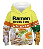 Ainuno Ramen Noodle Hoodie for Boys Girls Kids Juniors Youth Yellow Funny Sweatshirts Pullover Jacket,Ramen Noodle,6-8 Years Old