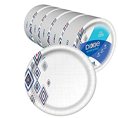 """Dixie Everyday Paper Plates,10 1/16"""" Plate, Amazon Exclusive, Dinner Size Printed Disposable Plates, (5 Pack of 44 Plates), 220 Count"""