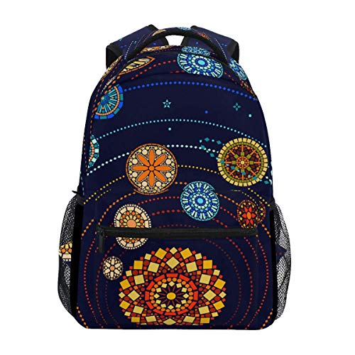 poiuytrew Solar System with Sun and Mandala Backpack Students Shoulder Bags Travel Bag College School Backpacks