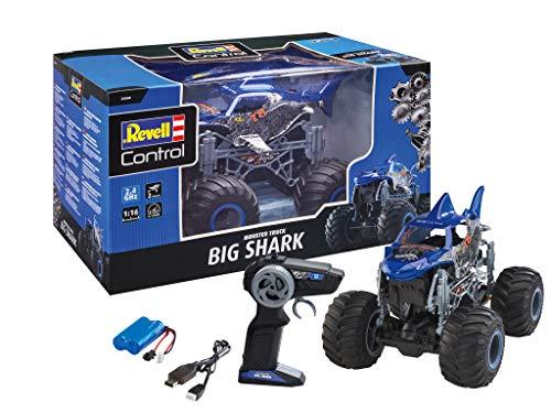 Revell Control 24558 RC Monster Truck Big Shark, Hai Design, 2.4 GHz, für Recht-und Linkshänder, bullige Reifen, Li-Ion-Akku, 32,5 cm ferngesteuertes Auto, blau